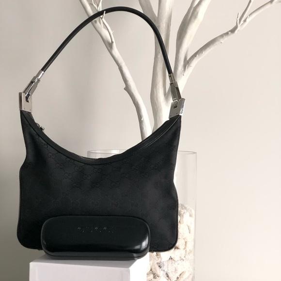 Gucci Monogram Black Canvas Hobo Bag